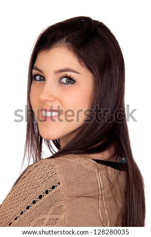 Portrait of a attractive girl isolated on blue background - stock photo