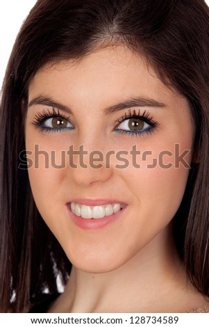 Portrait of a attractive girl isolated on white background - stock photo