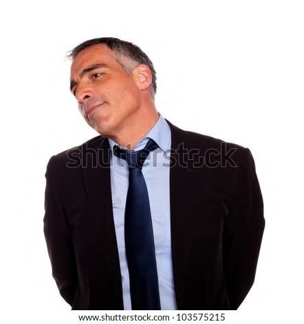 Portrait of a attractive hispanic senior businessman on black suit against white background - stock photo