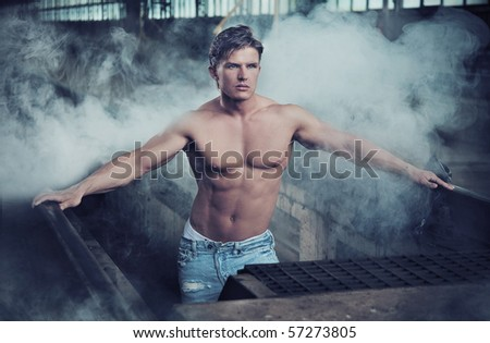 Portrait of a attractive man - stock photo