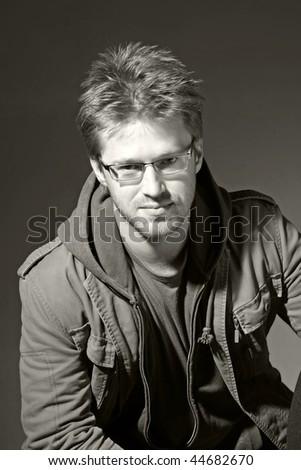 portrait of a attractive man, B&W - stock photo