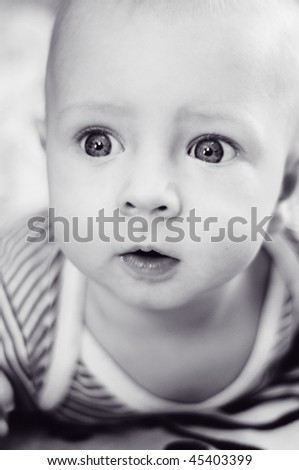 Portrait of a baby - black and white