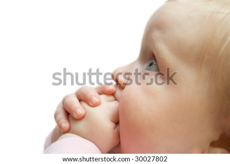portrait of a baby looking up isolated on a white