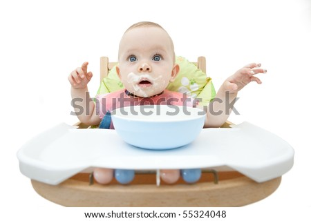 Portrait of a baby with a dirty face. - stock photo