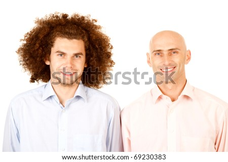 Portrait of a bald man and a man with long curly hair.  Theme:  Opposites - stock photo