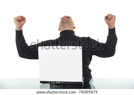 Portrait of a bald man with hand raised in air against white background - stock photo