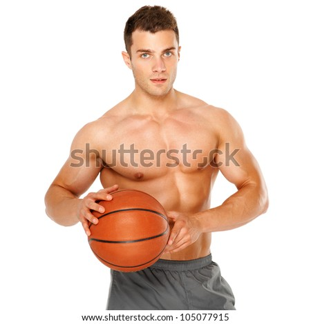 Portrait of a basketball player isolated on white background - stock photo
