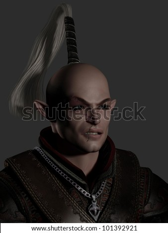 Portrait of a battle scarred elven warrior, 3d digitally rendered illustration - stock photo