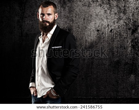 Portrait of a bearded man - stock photo