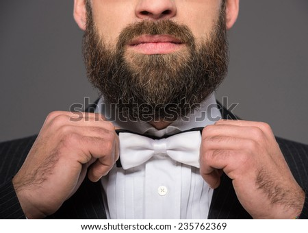 Portrait of a bearded man in a suit and a tie who is posing over grey background. - stock photo