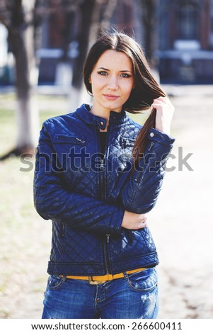 Portrait of a beautiful adult sensual woman outdoor.