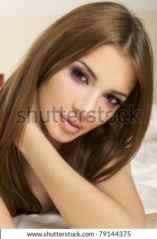 portrait of a beautiful adult sensuality woman - stock photo