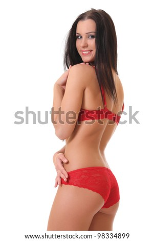 portrait of a beautiful adult sensuality woman in red lingerie isolated on white background - stock photo