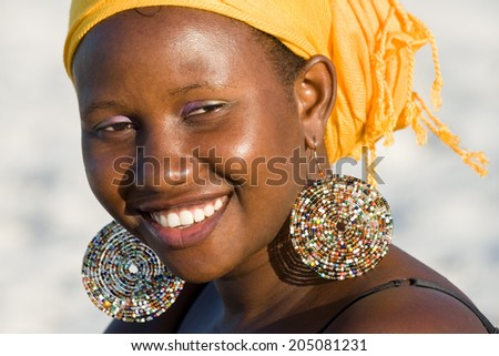 Portrait of a beautiful African woman smiling