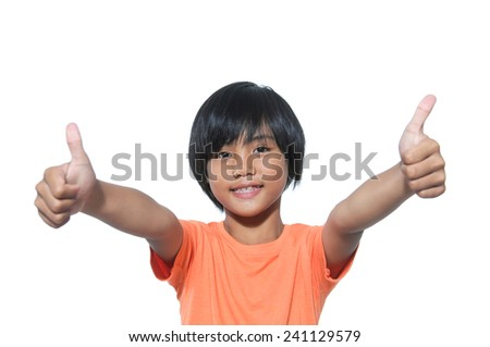 Portrait of a beautiful and confident girl showing thumbs up - stock photo