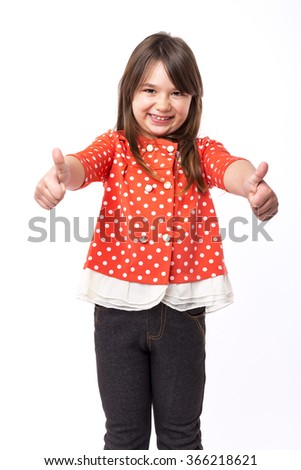Portrait of a beautiful and confident girl showing thumbs up isolated on white - stock photo