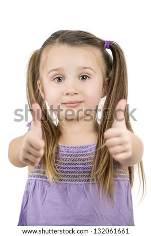 portrait of a beautiful and confident little girl with thumb up isolated on white background - stock photo