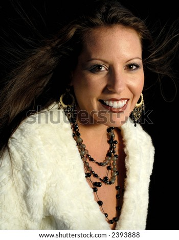 Portrait of a beautiful and graciously aging fashion model - stock photo