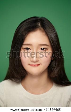 portrait of a beautiful asian girl closeup - stock photo