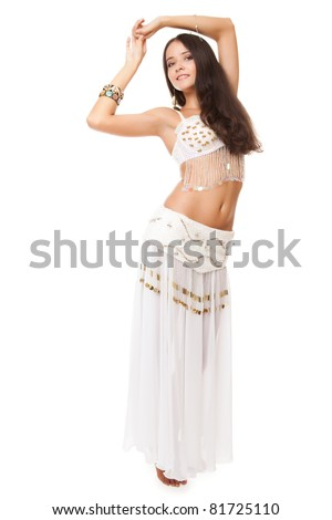 portrait of a beautiful belly dancer on white background - stock photo