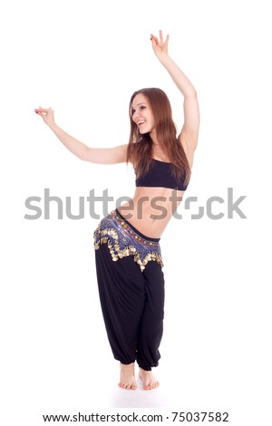 portrait of a beautiful belly dancer with long hair - stock photo