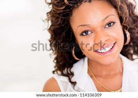 Portrait of a beautiful black woman smiling