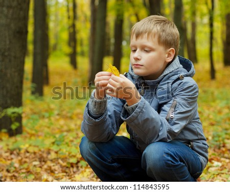 Portrait of a beautiful blond boy in autumn park. Boy exam yellow leaf in his hand. - stock photo