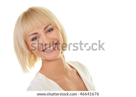 Portrait of a beautiful blond woman isolated on white background - stock photo