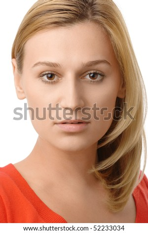 Portrait of a beautiful blonde, isolated over white - stock photo