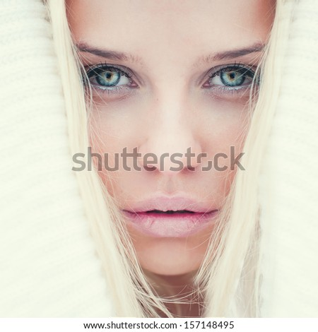 portrait of a beautiful blonde with perfect skin closeup - stock photo