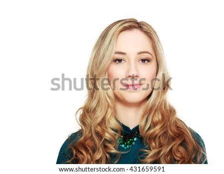 Portrait of a beautiful blonde woman smiling, isolated over white background - stock photo
