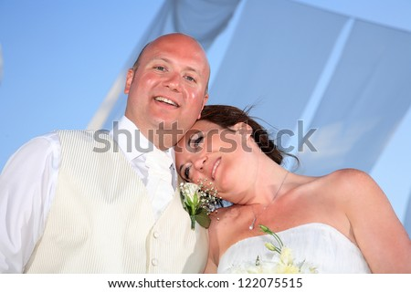 portrait of a beautiful bride and groom