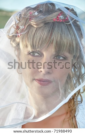 portrait of a beautiful bride with veil close up - stock photo