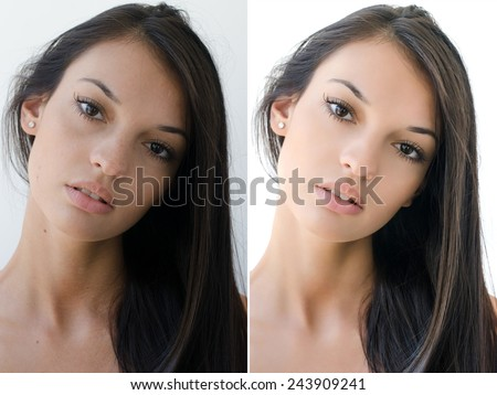 Portrait of a beautiful brunette girl before and after retouching with photoshop. Aging versus young, acne beauty treatment. Isolated on white background. Edited photos being compared. - stock photo