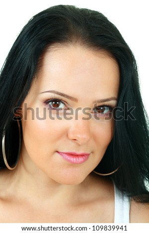 Portrait of a beautiful brunette with healthy skin isolated on white background