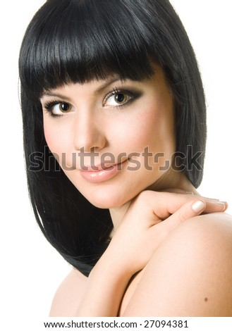 Portrait of  a beautiful brunette woman - stock photo