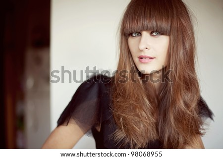 portrait of a beautiful brunette woman with long hair and makeup - stock photo