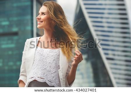 Portrait of a beautiful business woman - stock photo