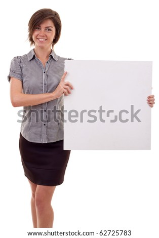 Portrait of a beautiful business woman holding a blank billboard. - stock photo