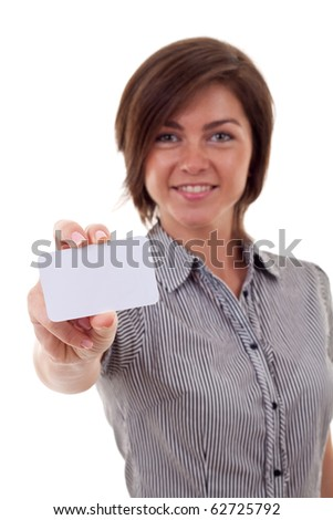 Portrait of a beautiful business woman holding a white card. Isolated