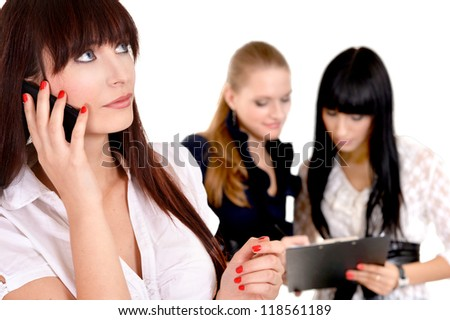 portrait of a beautiful business woman posing on a white - stock photo