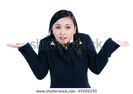 Portrait of a beautiful businesswoman gesturing do not know sign against white background. - stock photo