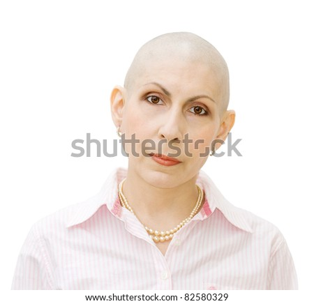 Portrait of a beautiful cancer patient, undergoing chemotherapy. Real woman, diagnosed with ovarian and breast cancer. - stock photo
