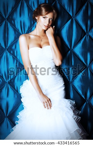 Portrait of a beautiful charming bride in a luxurious dress.  - stock photo