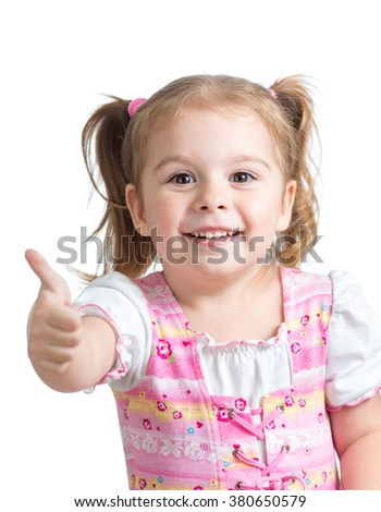 Portrait of a beautiful child girl showing thumbs up - stock photo