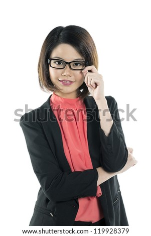 Portrait of a beautiful Chinese woman wearing glasses and holding the  frame. Female model on white background.