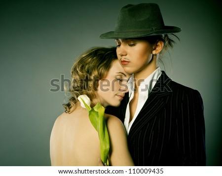 Portrait of a beautiful couple - stock photo