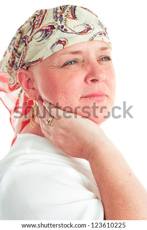 Portrait of a beautiful, courageous cancer patient in a head scarf.  White background. - stock photo
