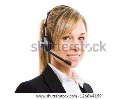 Portrait of a beautiful customer representative. Isolated on white - stock photo