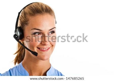 Portrait of a beautiful customer service representative - stock photo